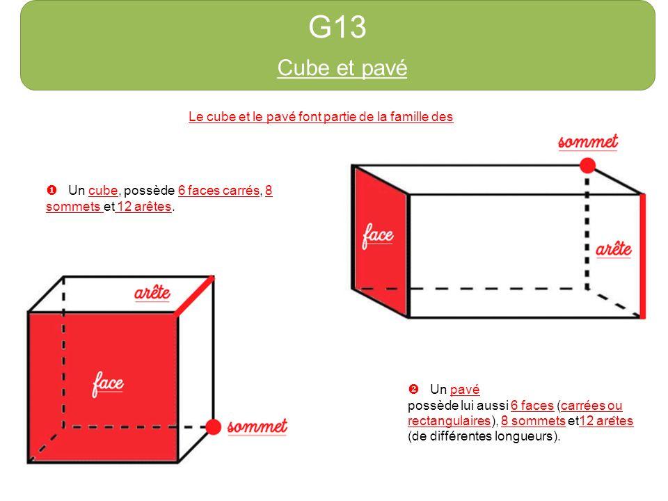 G13 Cube et pavé. http://azert6.eklablog.com/ Le cube et le pavé font partie de la famille des solides.