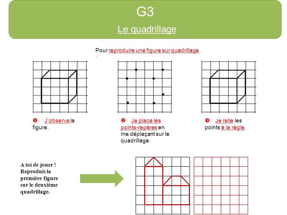 G3 Le quadrillage Pour reproduire une figure sur quadrillage :