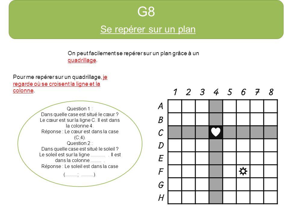 G8 Se repérer sur un plan Question 1 :