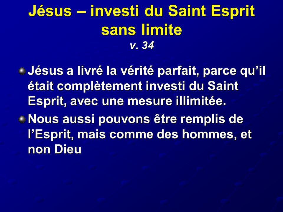 Jésus – investi du Saint Esprit sans limite v. 34