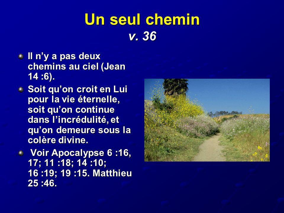 Un seul chemin v. 36 Il n'y a pas deux chemins au ciel (Jean 14 :6).