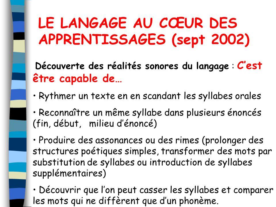 LE LANGAGE AU CŒUR DES APPRENTISSAGES (sept 2002)