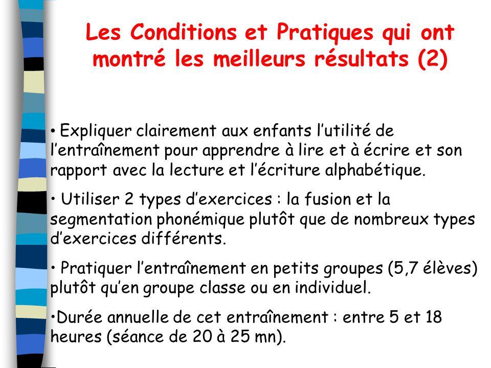 Les Conditions et Pratiques qui ont montré les meilleurs résultats (2)