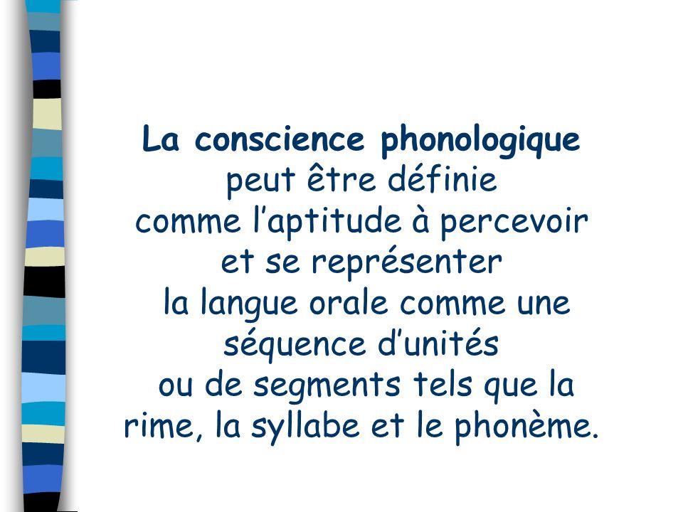La conscience phonologique peut être définie