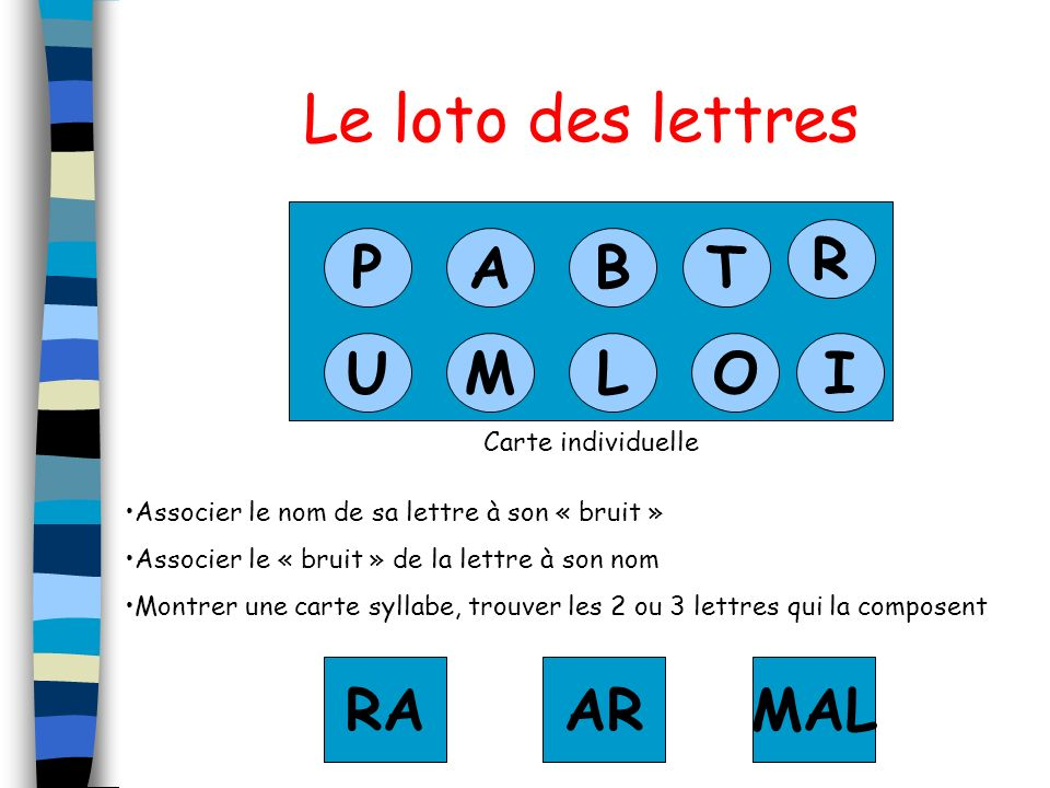 Le loto des lettres R P A B T U M L O I RA AR MAL Carte individuelle