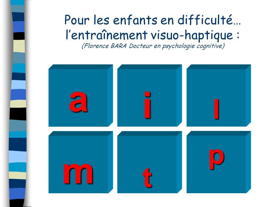 Pour les enfants en difficulté… l'entraînement visuo-haptique : (Florence BARA Docteur en psychologie cognitive)