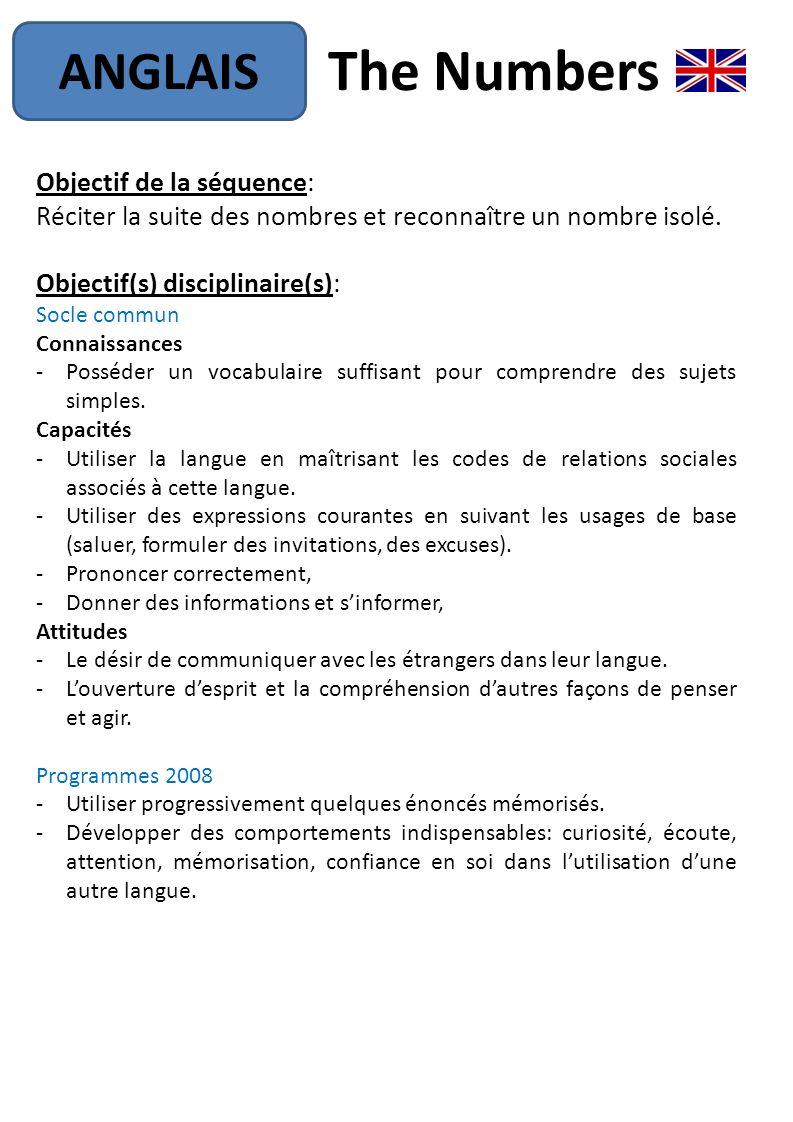 the numbers anglais objectif de la s u00e9quence