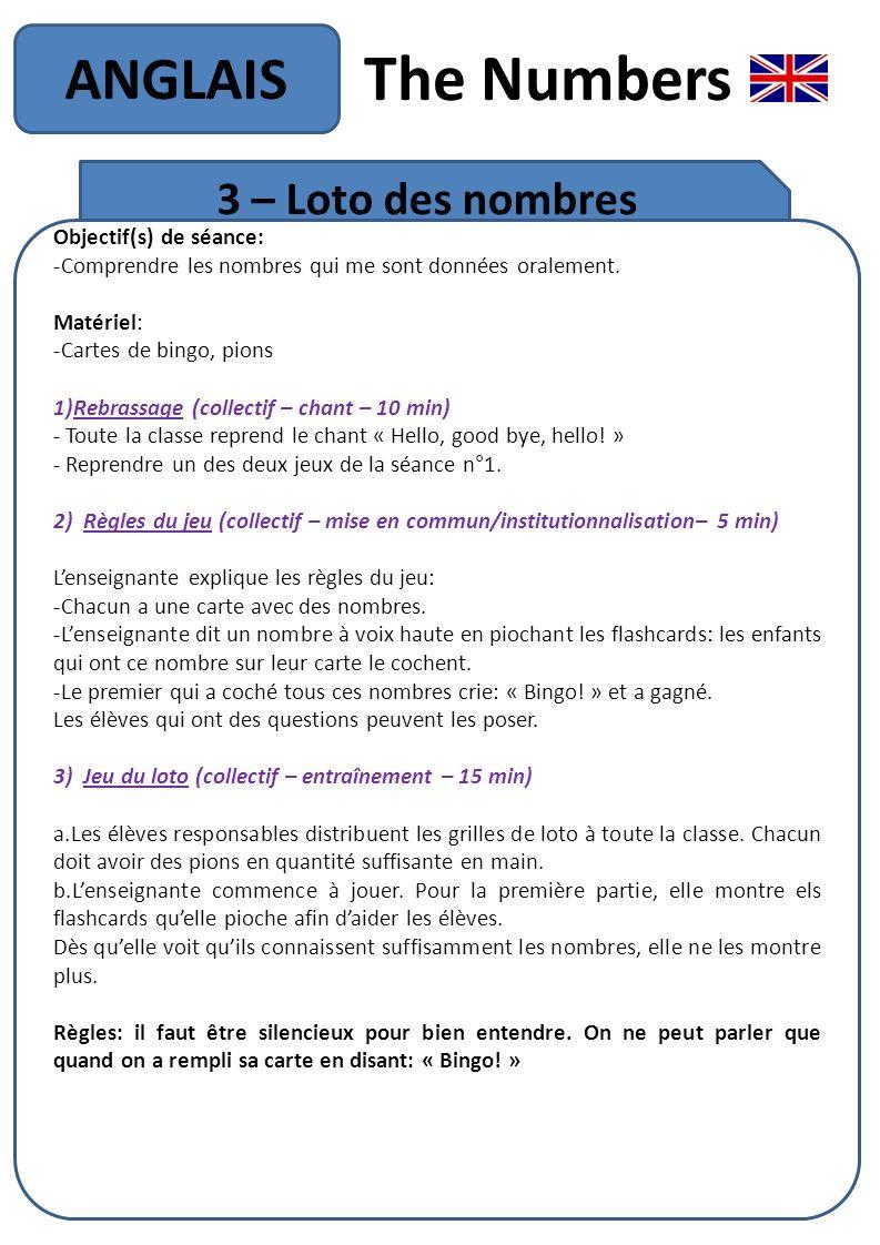 The Numbers ANGLAIS 3 – Loto des nombres Objectif(s) de séance: