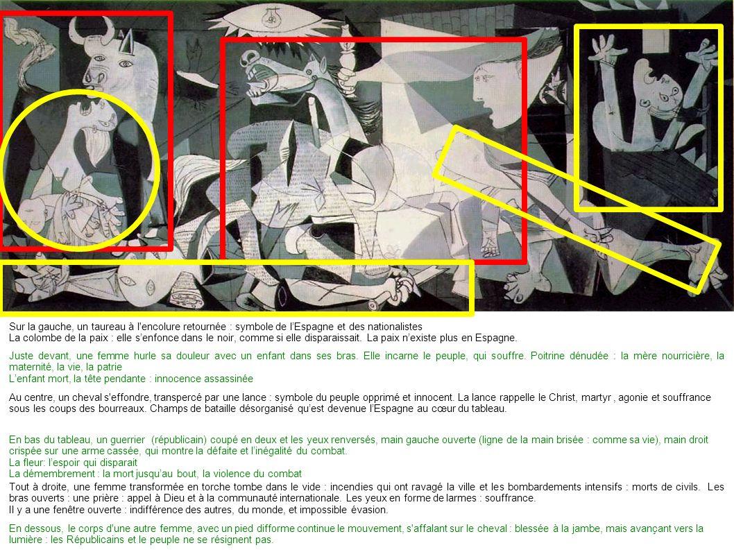 Sur la gauche, un taureau à l encolure retournée : symbole de l'Espagne et des nationalistes