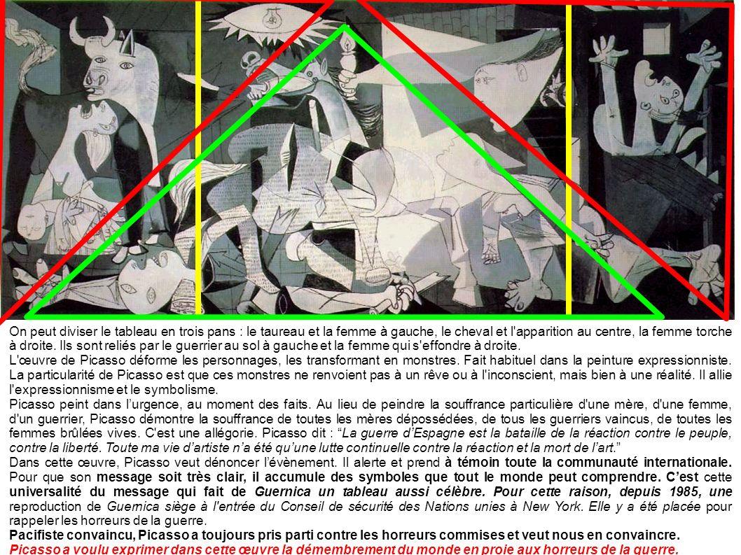 On peut diviser le tableau en trois pans : le taureau et la femme à gauche, le cheval et l apparition au centre, la femme torche à droite. Ils sont reliés par le guerrier au sol à gauche et la femme qui s effondre à droite.