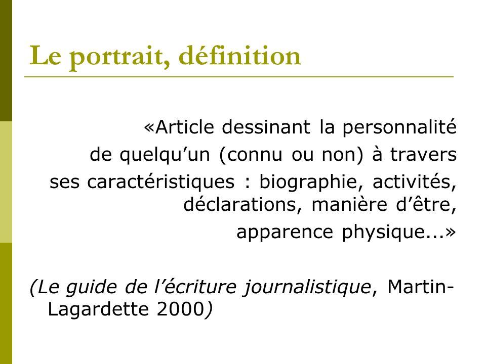 Le portrait, définition