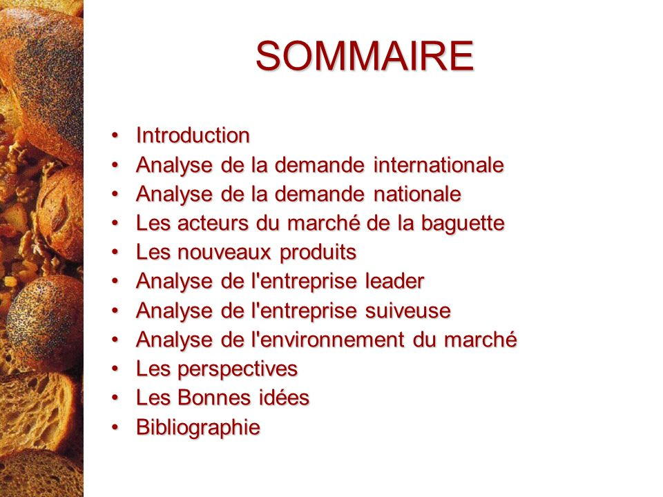 SOMMAIRE Introduction Analyse de la demande internationale