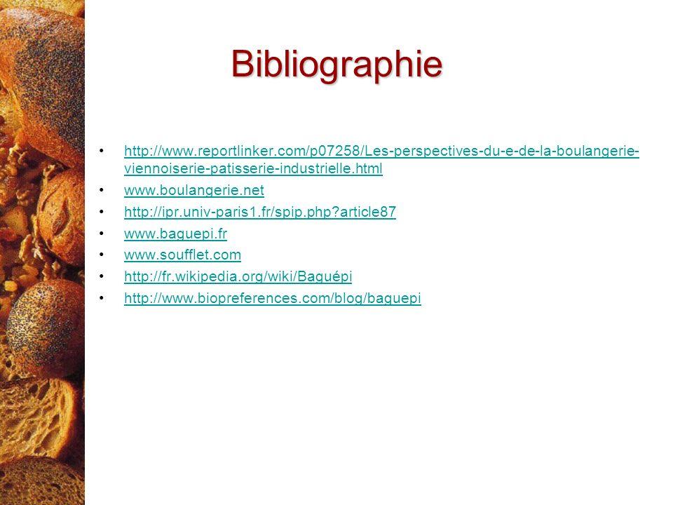 Bibliographie http://www.reportlinker.com/p07258/Les-perspectives-du-e-de-la-boulangerie-viennoiserie-patisserie-industrielle.html.