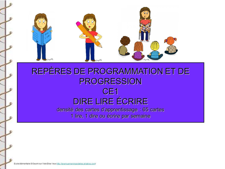 REPÈRES DE PROGRAMMATION ET DE PROGRESSION CE1 DIRE LIRE ÉCRIRE