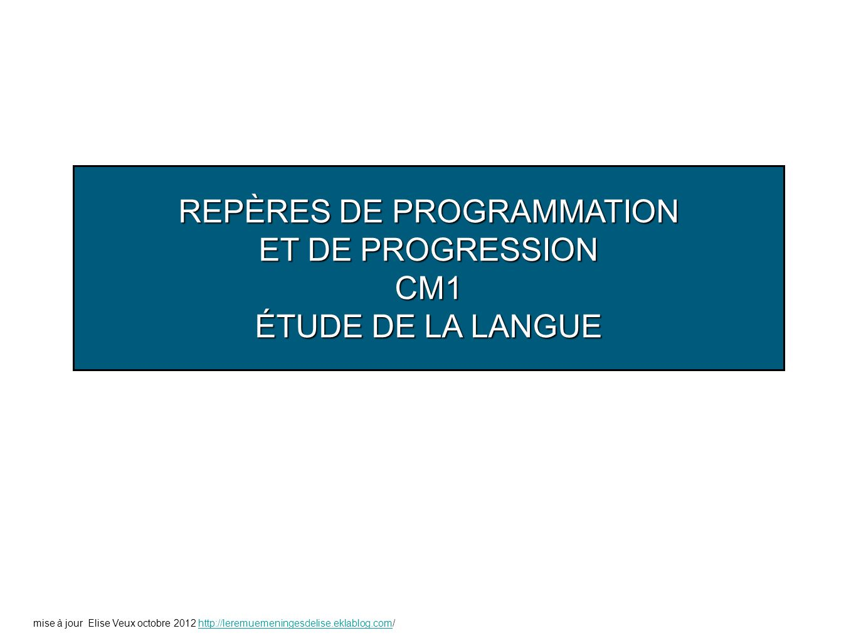 REPÈRES DE PROGRAMMATION