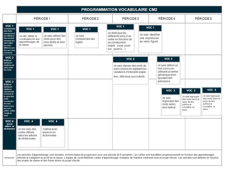 PROGRAMMATION VOCABULAIRE CM2 Savoir utiliser un dictionnaire.