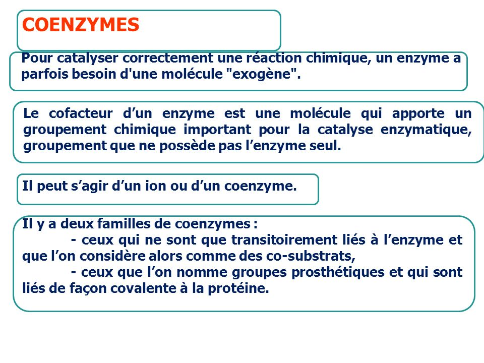 COENZYMESPour catalyser correctement une réaction chimique, un enzyme a parfois besoin d une molécule exogène .