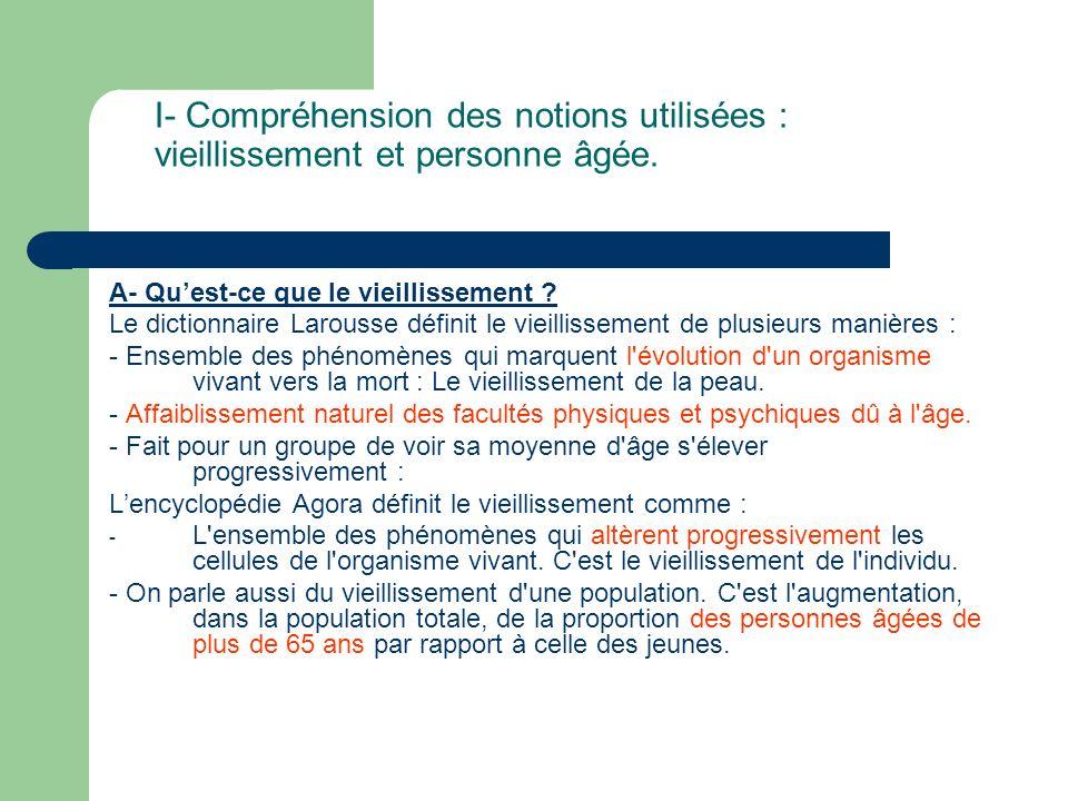 I- Compréhension des notions utilisées : vieillissement et personne âgée.