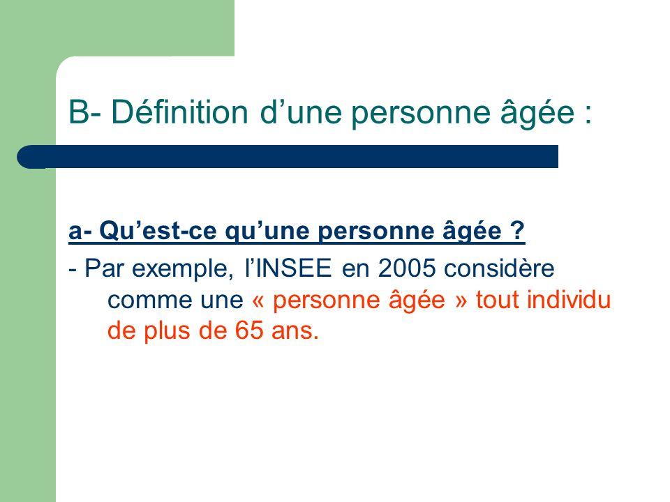 B- Définition d'une personne âgée :