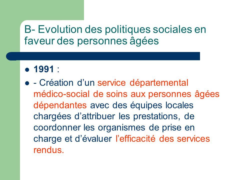 B- Evolution des politiques sociales en faveur des personnes âgées