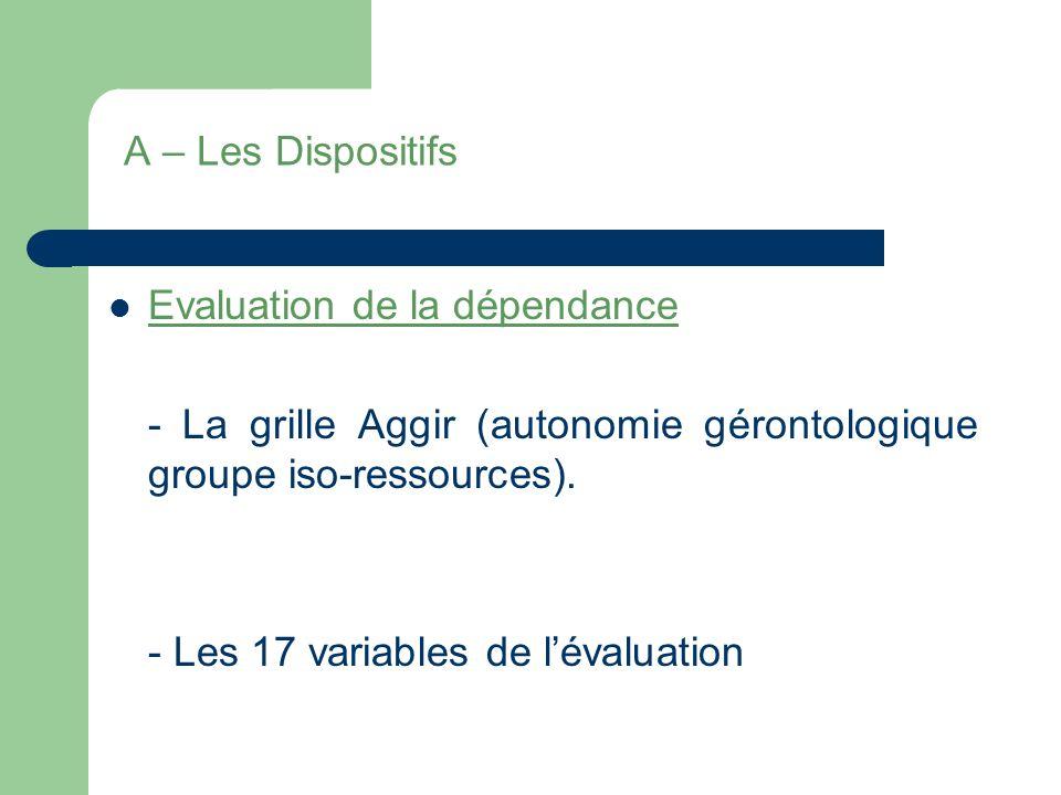 A – Les Dispositifs Evaluation de la dépendance. - La grille Aggir (autonomie gérontologique groupe iso-ressources).