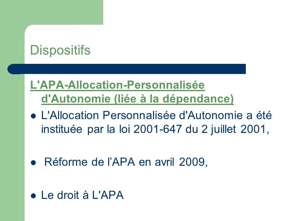 Dispositifs L APA-Allocation-Personnalisée d Autonomie (liée à la dépendance)