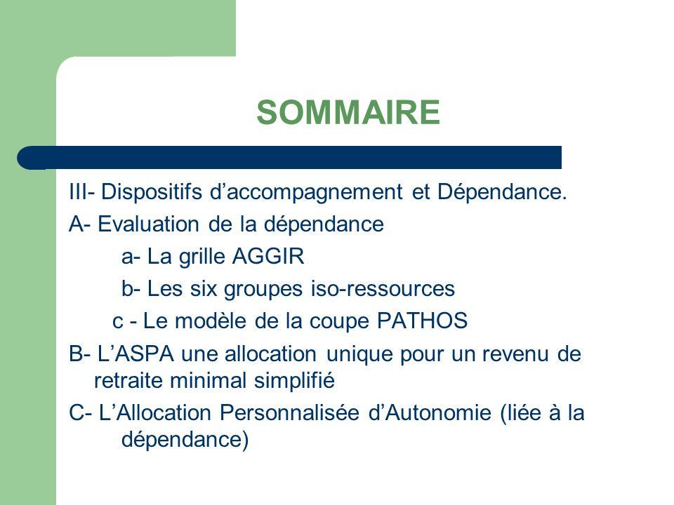SOMMAIRE III- Dispositifs d'accompagnement et Dépendance.