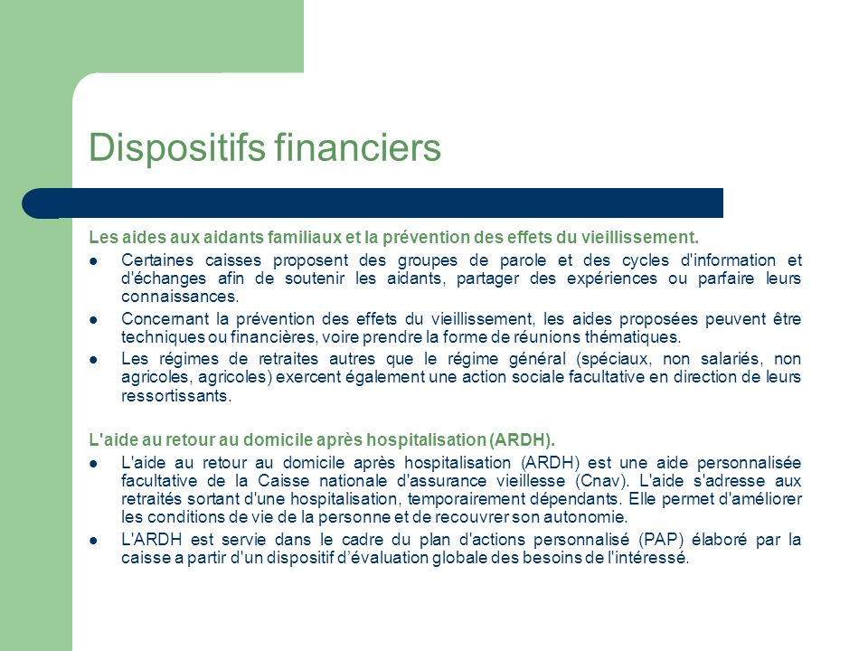 Dispositifs financiers