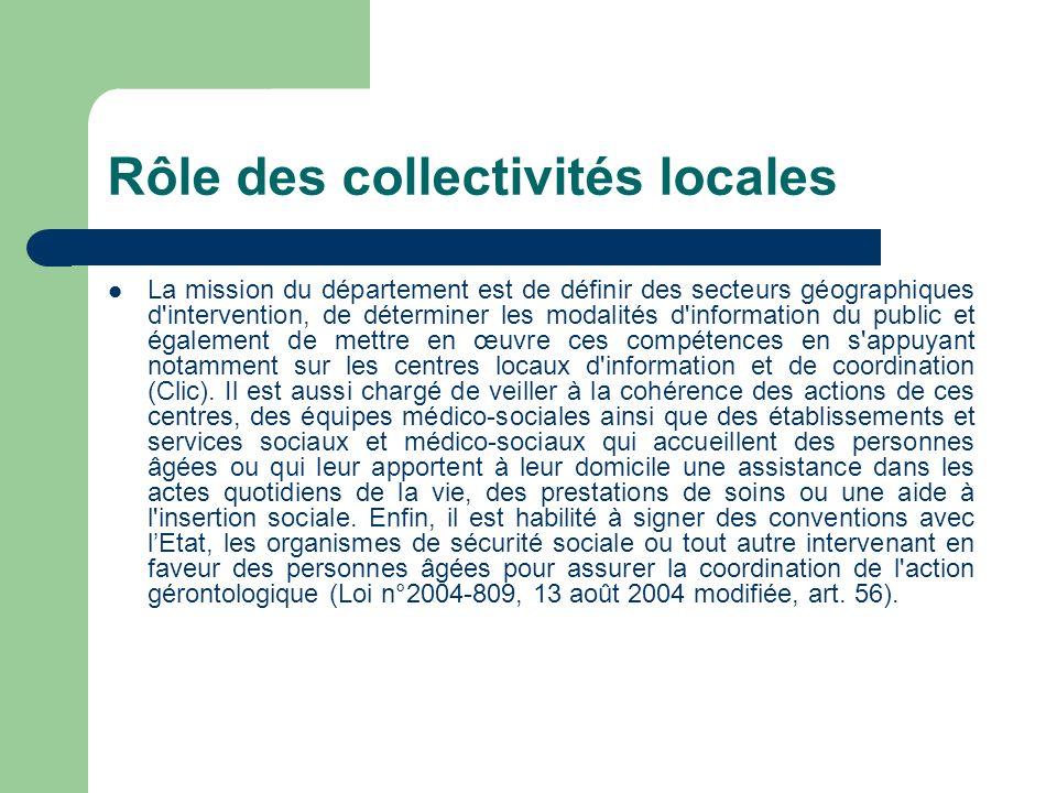 Rôle des collectivités locales