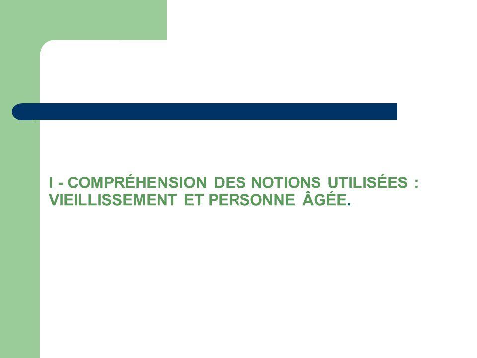 I - COMPRÉHENSION DES NOTIONS UTILISÉES : VIEILLISSEMENT ET PERSONNE ÂGÉE.