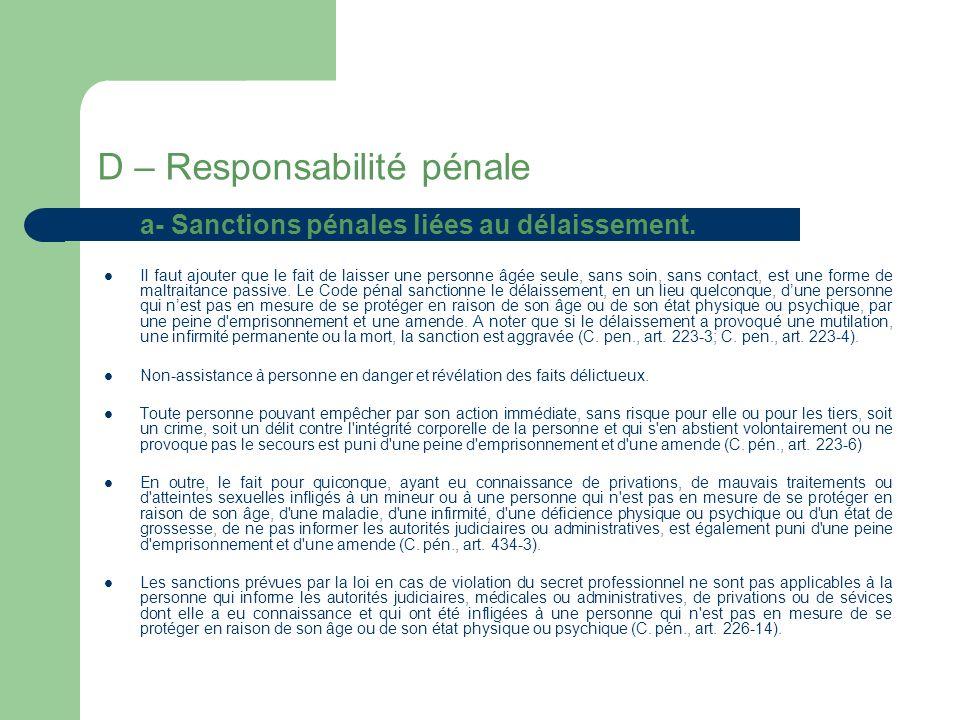 D – Responsabilité pénale