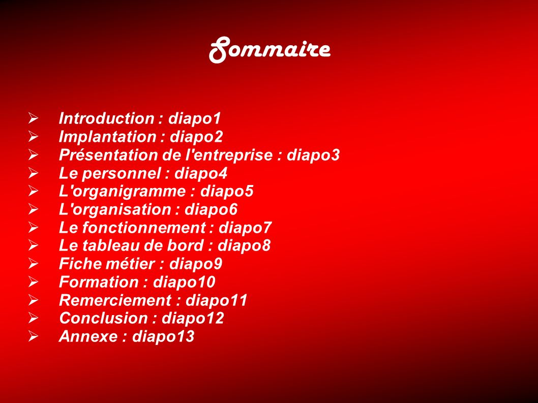 Sommaire Introduction : diapo1 Implantation : diapo2