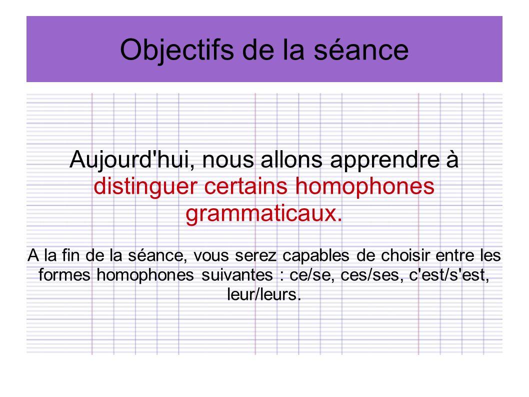 Objectifs de la séance Aujourd hui, nous allons apprendre à distinguer certains homophones grammaticaux.