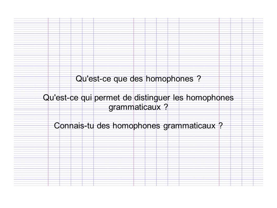Qu est-ce que des homophones