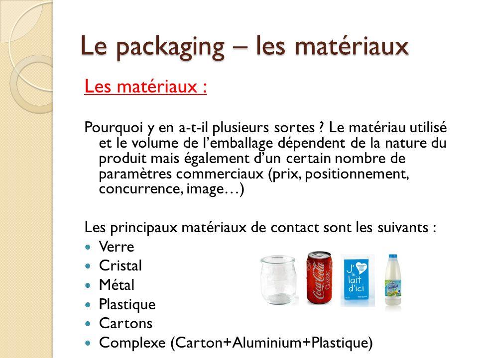 Le packaging – les matériaux