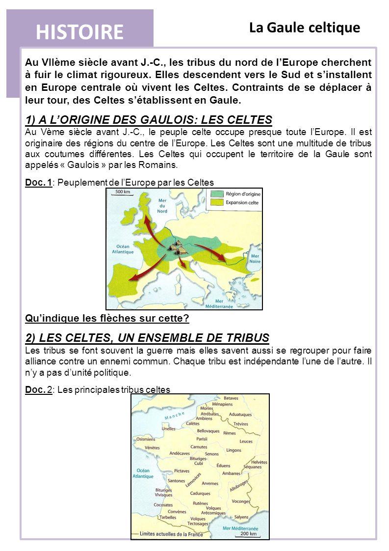 HISTOIRE La Gaule celtique 1) A L'ORIGINE DES GAULOIS: LES CELTES