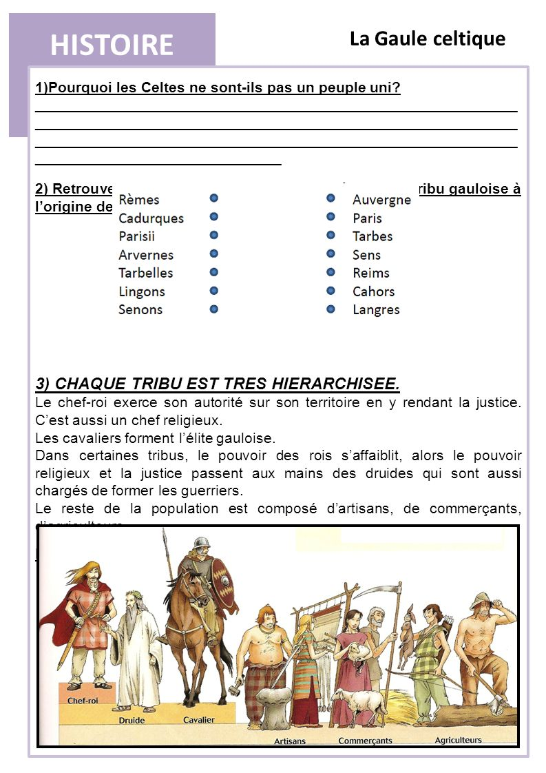 HISTOIRE La Gaule celtique 3) CHAQUE TRIBU EST TRES HIERARCHISEE.