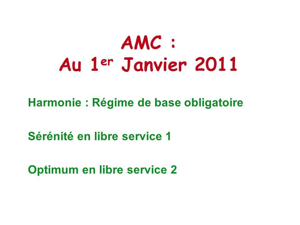 AMC : Au 1er Janvier 2011 Harmonie : Régime de base obligatoire