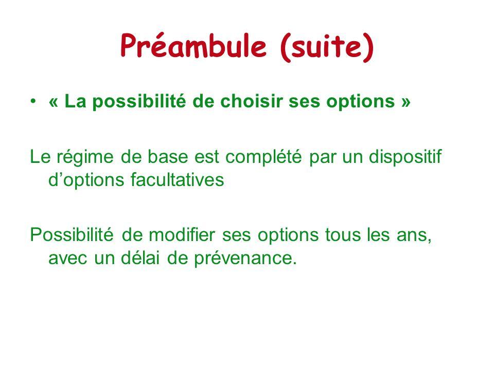 Préambule (suite) « La possibilité de choisir ses options »