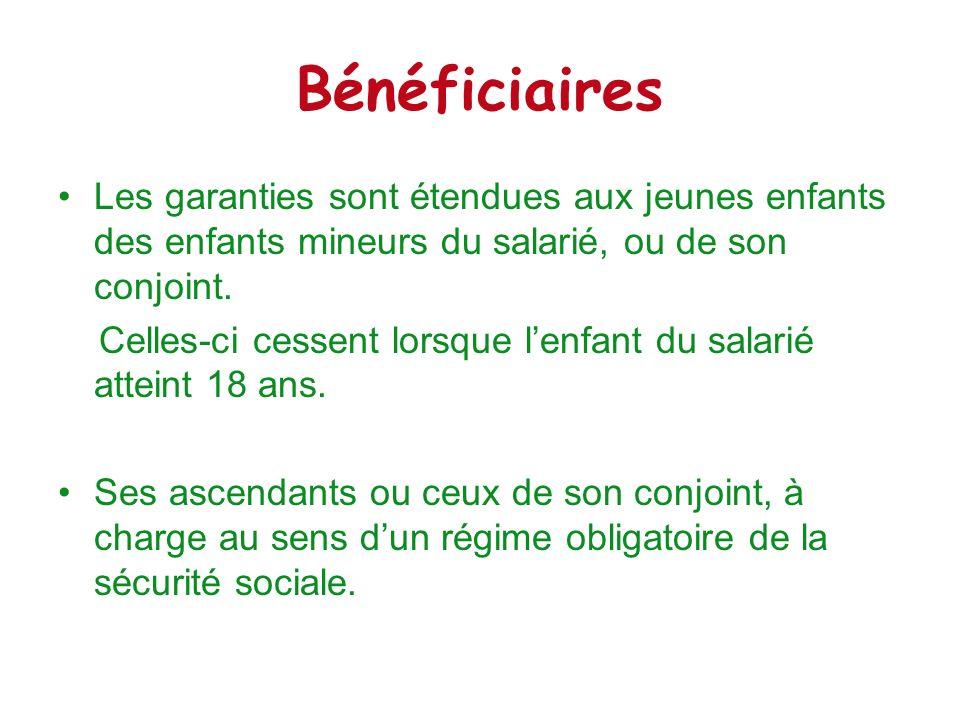 BénéficiairesLes garanties sont étendues aux jeunes enfants des enfants mineurs du salarié, ou de son conjoint.