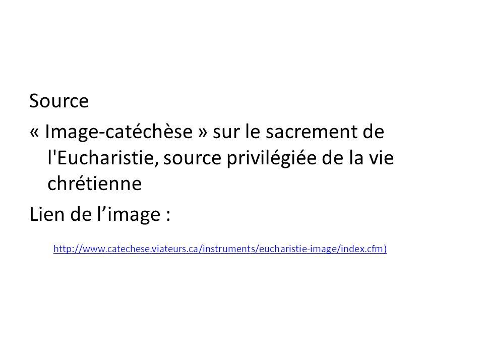 Source« Image-catéchèse » sur le sacrement de l Eucharistie, source privilégiée de la vie chrétienne.