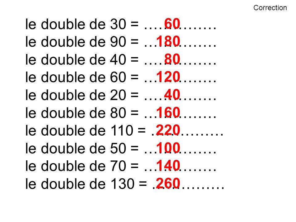 le double de 30 = …………… 60 le double de 90 = …………… 180