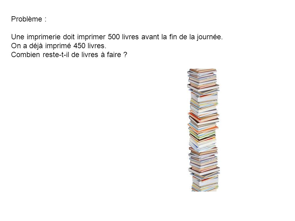 Problème : Une imprimerie doit imprimer 500 livres avant la fin de la journée. On a déjà imprimé 450 livres.