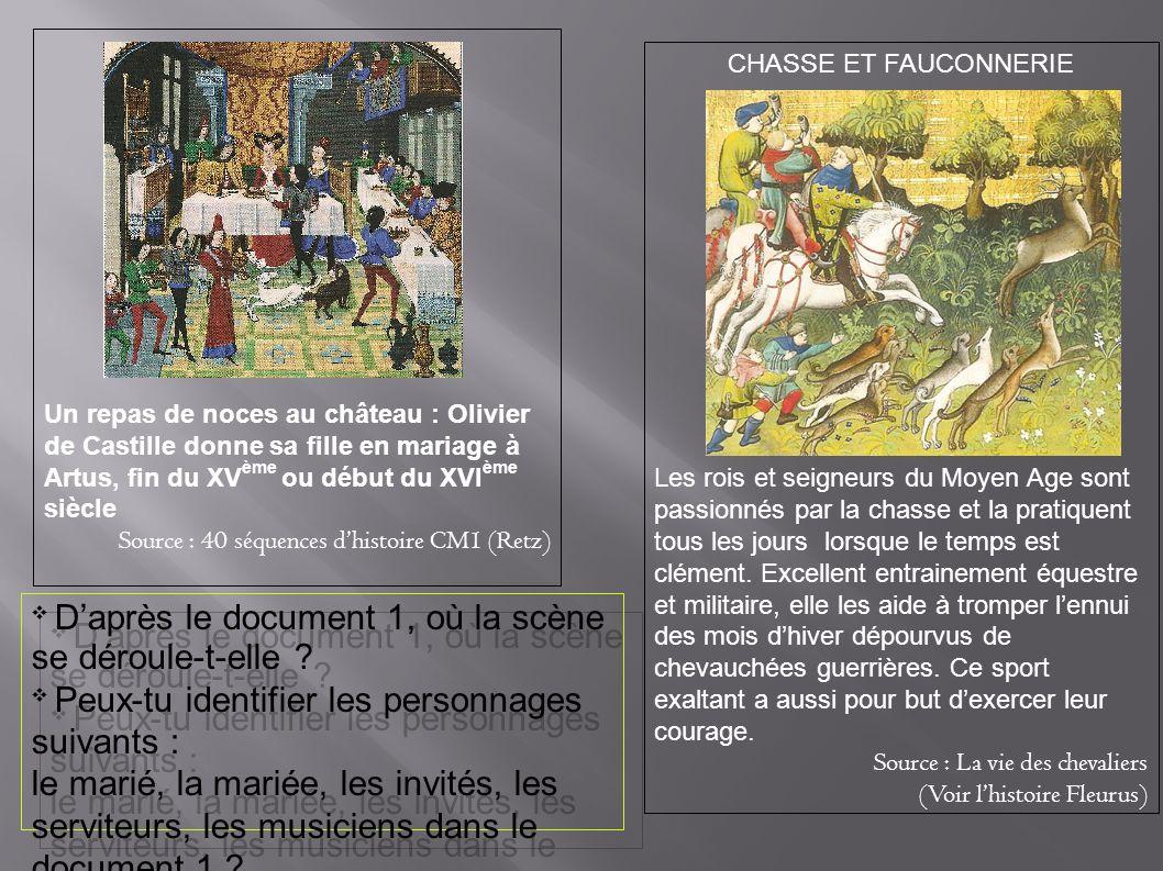 Un repas de noces au château : Olivier de Castille donne sa fille en mariage à Artus, fin du XVème ou début du XVIème siècle
