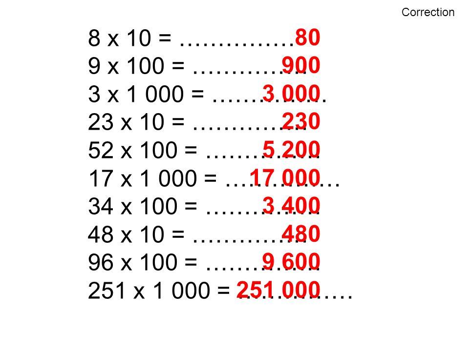 8 x 10 = …………… 80 9 x 100 = …………… 900 3 x 1 000 = …………… 3 000