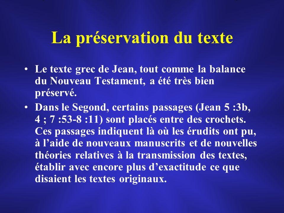 La préservation du texte