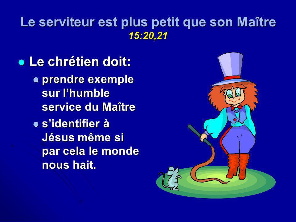Le serviteur est plus petit que son Maître 15:20,21