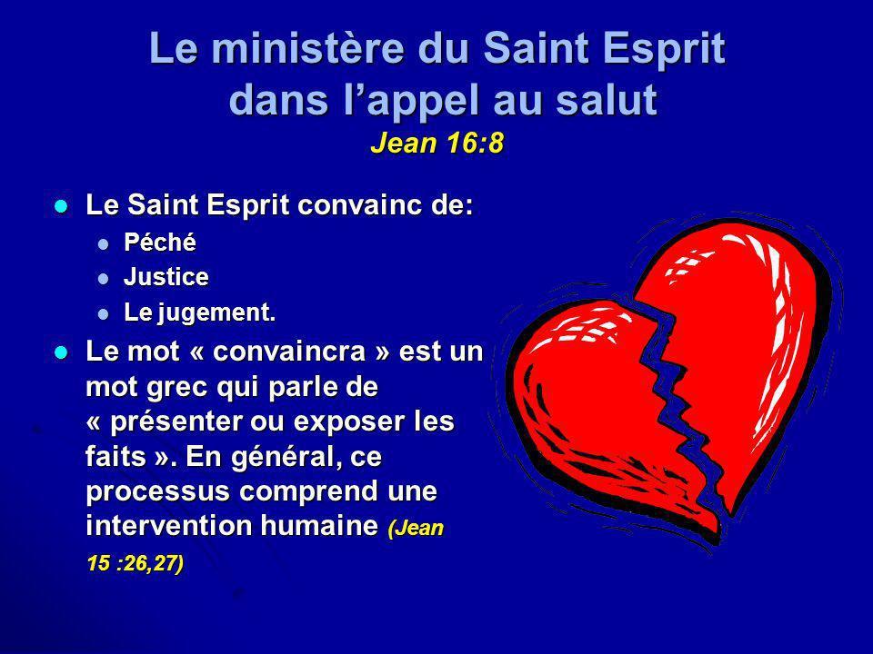 Le ministère du Saint Esprit dans l'appel au salut Jean 16:8