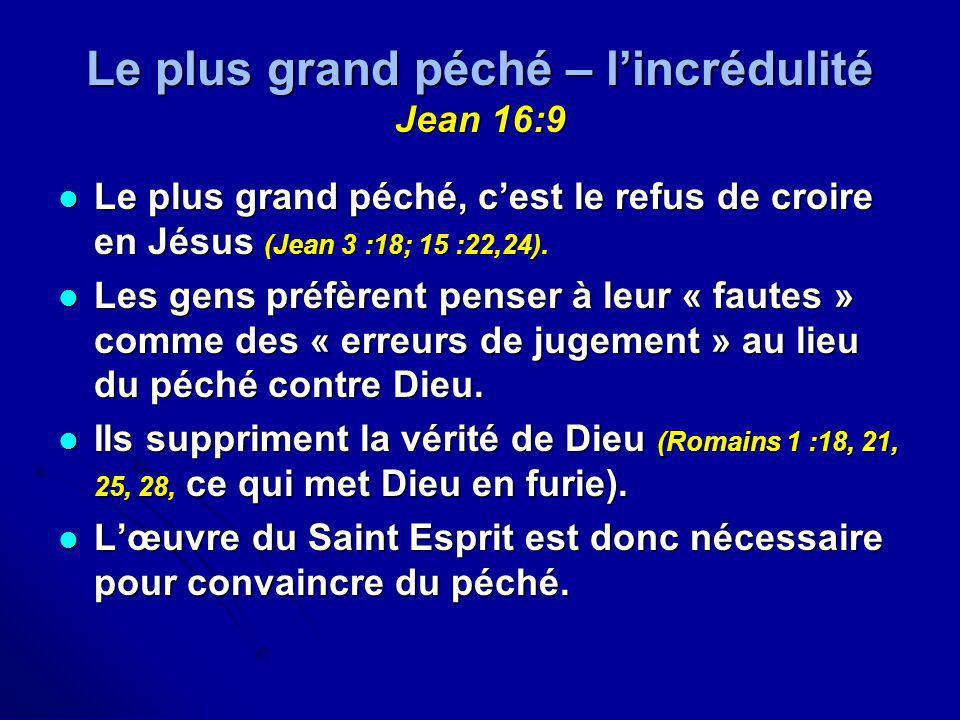 Le plus grand péché – l'incrédulité Jean 16:9