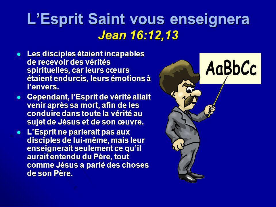 L'Esprit Saint vous enseignera Jean 16:12,13